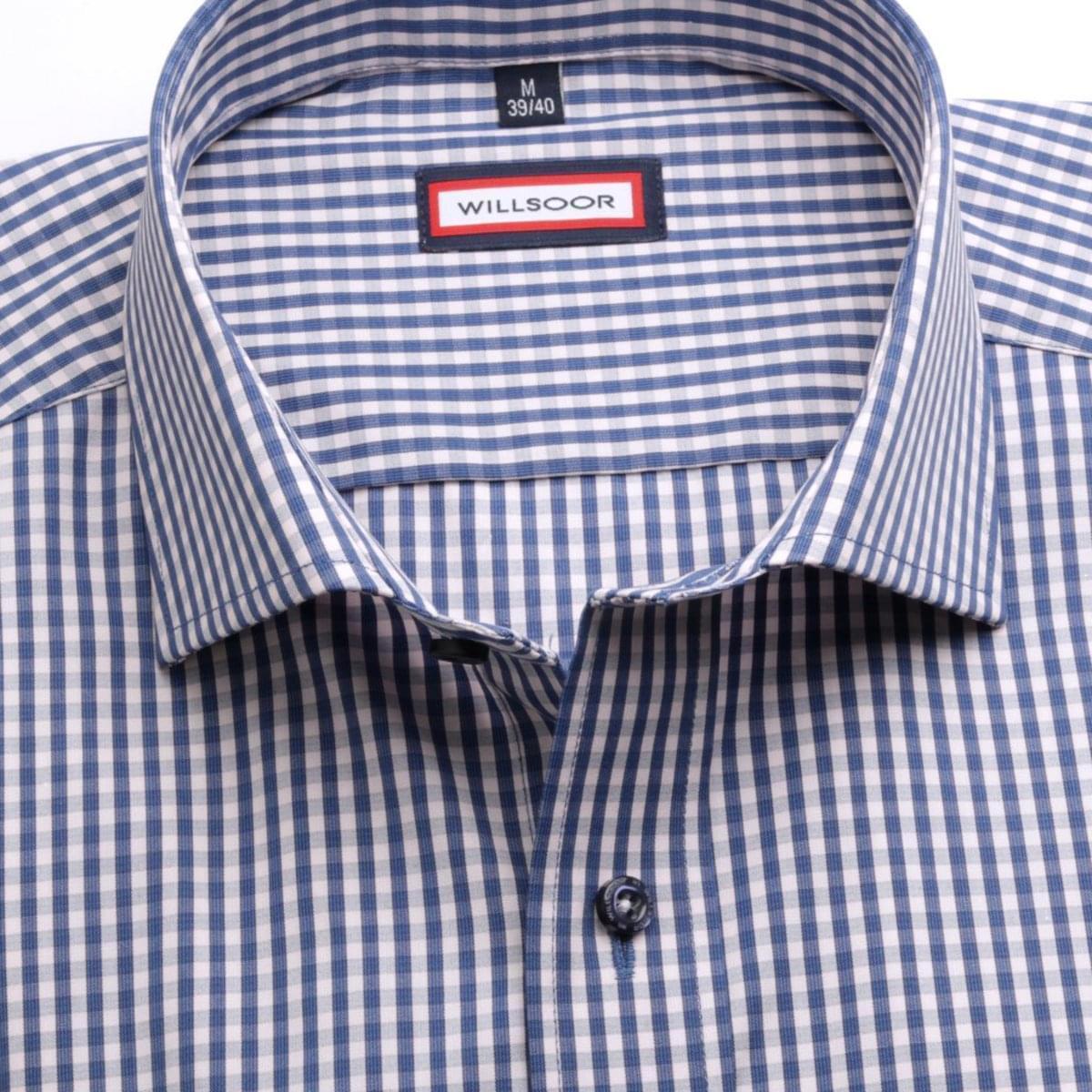 Pánská slim fit košile (výška 176-182) 6723 s kostkou a formulí Easy Care 176-182 / M (39/40)