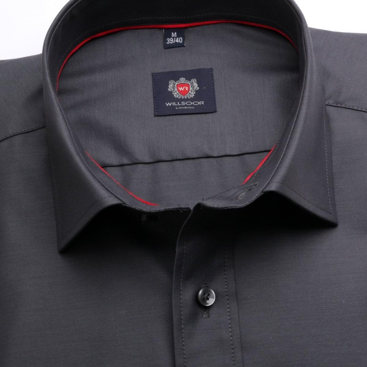 Pánská klasická košile London (výška 188-194) 6744 v grafitové barvě s formulí Easy Care 188-194 / L (41/42)