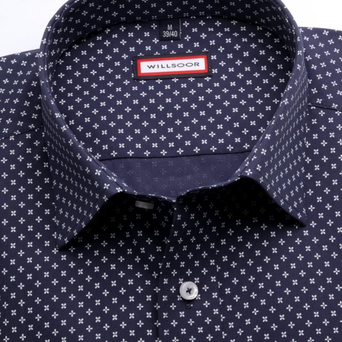 Pánská slim fit košile (výška 176-182) 6799 v modré barvě s formulí Easy Care 176-182 / M (39/40)