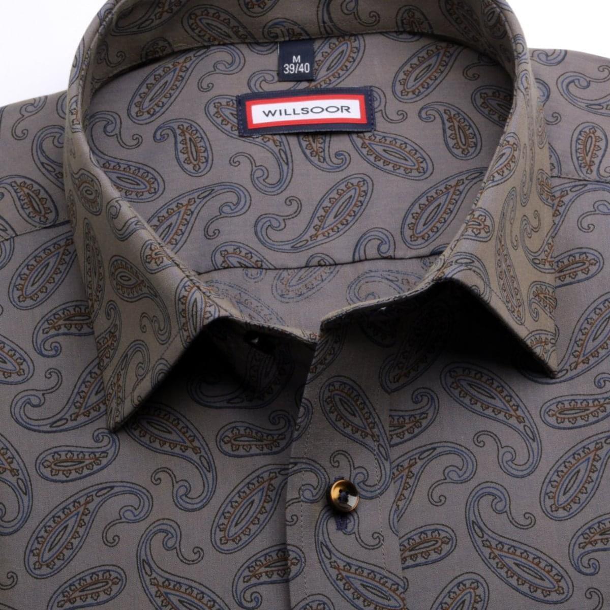 Pánská slim fit košile (výška 176-182) 6802 v šedé barvě s formulí Easy Care 176-182 / M (39/40)