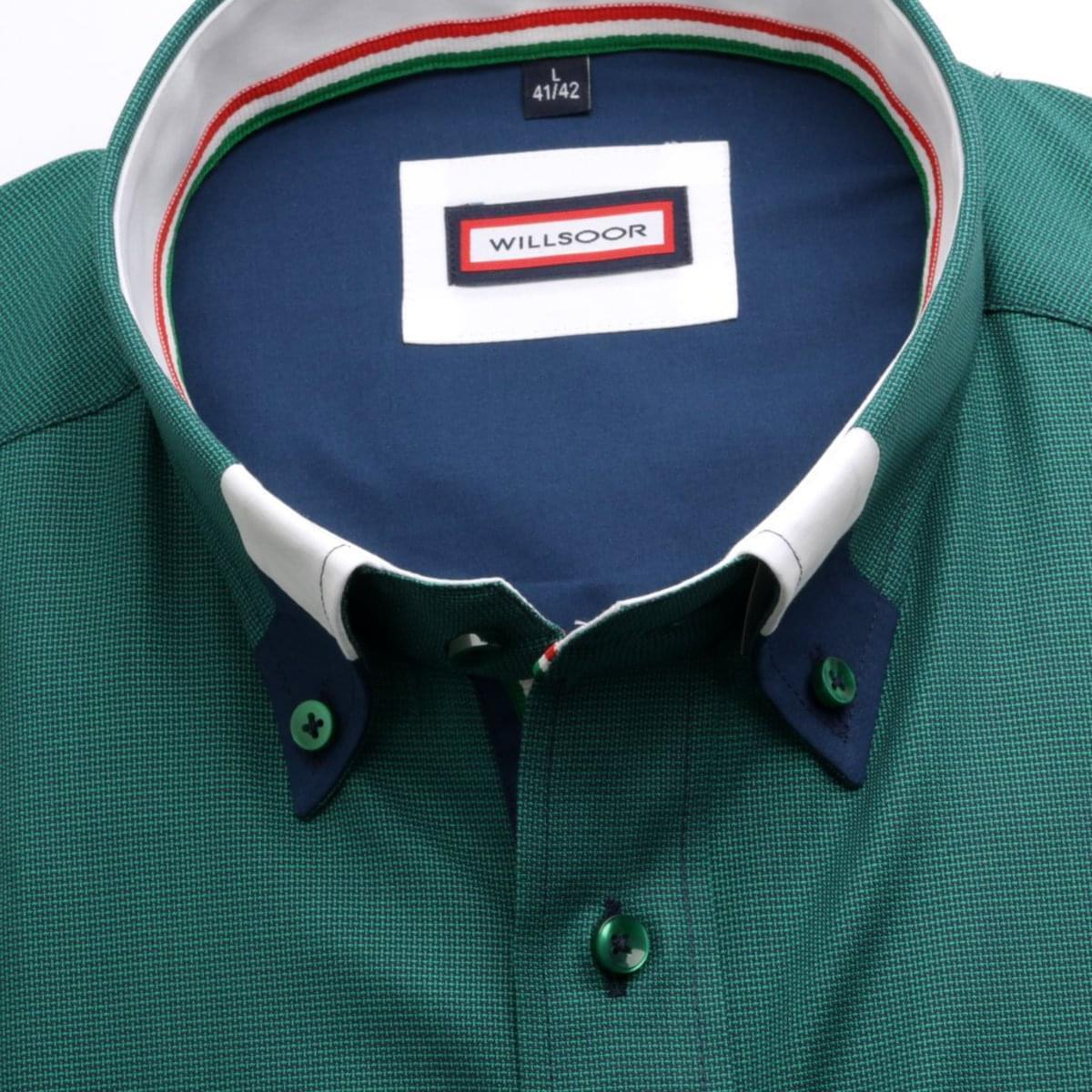 Pánská slim fit košile (výška 176-182) 6859 v zelené barvě 176-182 / XL (43/44)