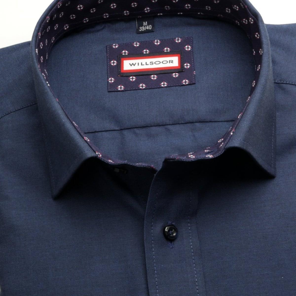 Pánská slim fit košile (výška 176-182) 6944 v modré barvě s formulí Easy Care 176-182 / L (41/42)