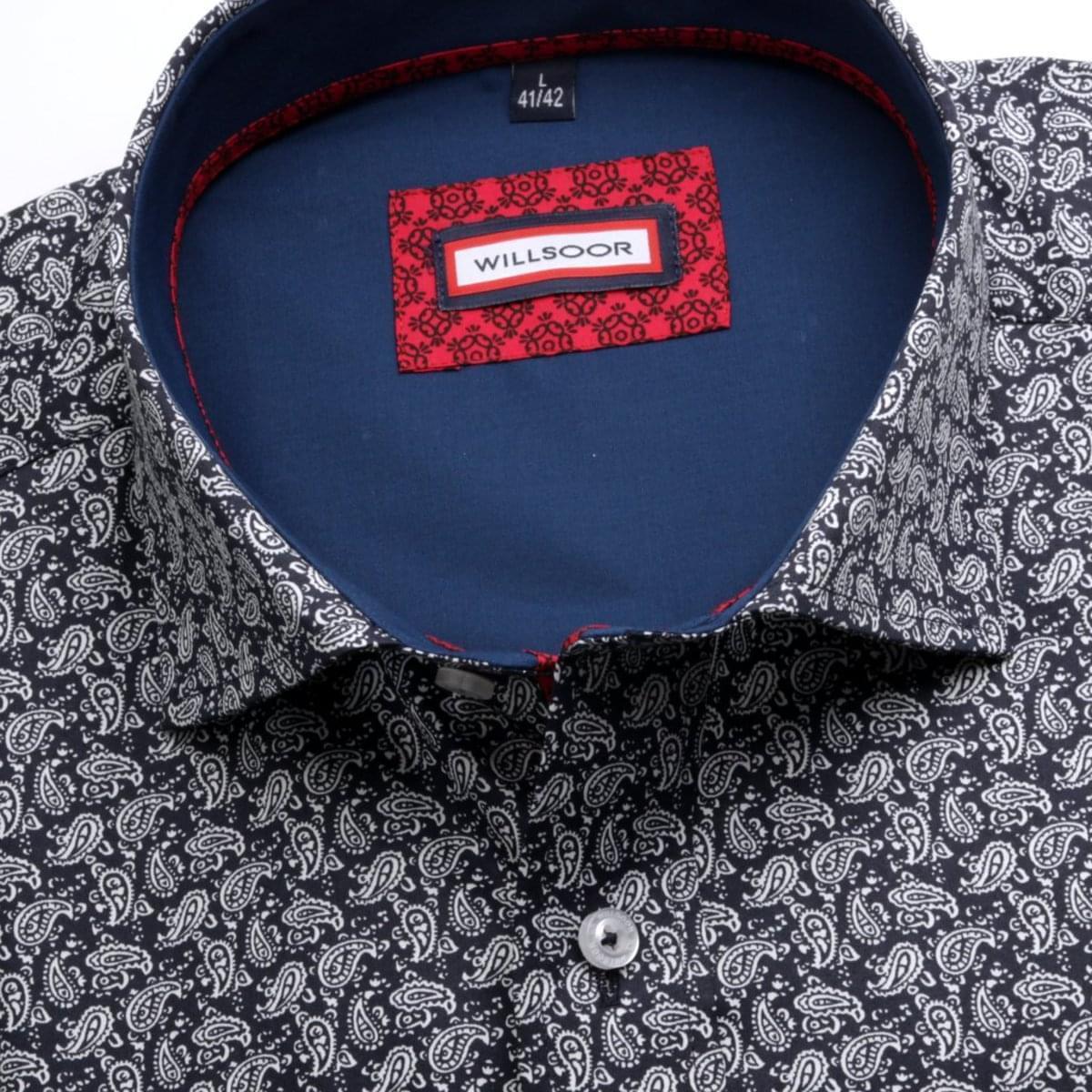 Pánská slim fit košile (výška 188-194) 6977 v černé barvě s formulí Easy Care 188-194 / M (39/40)