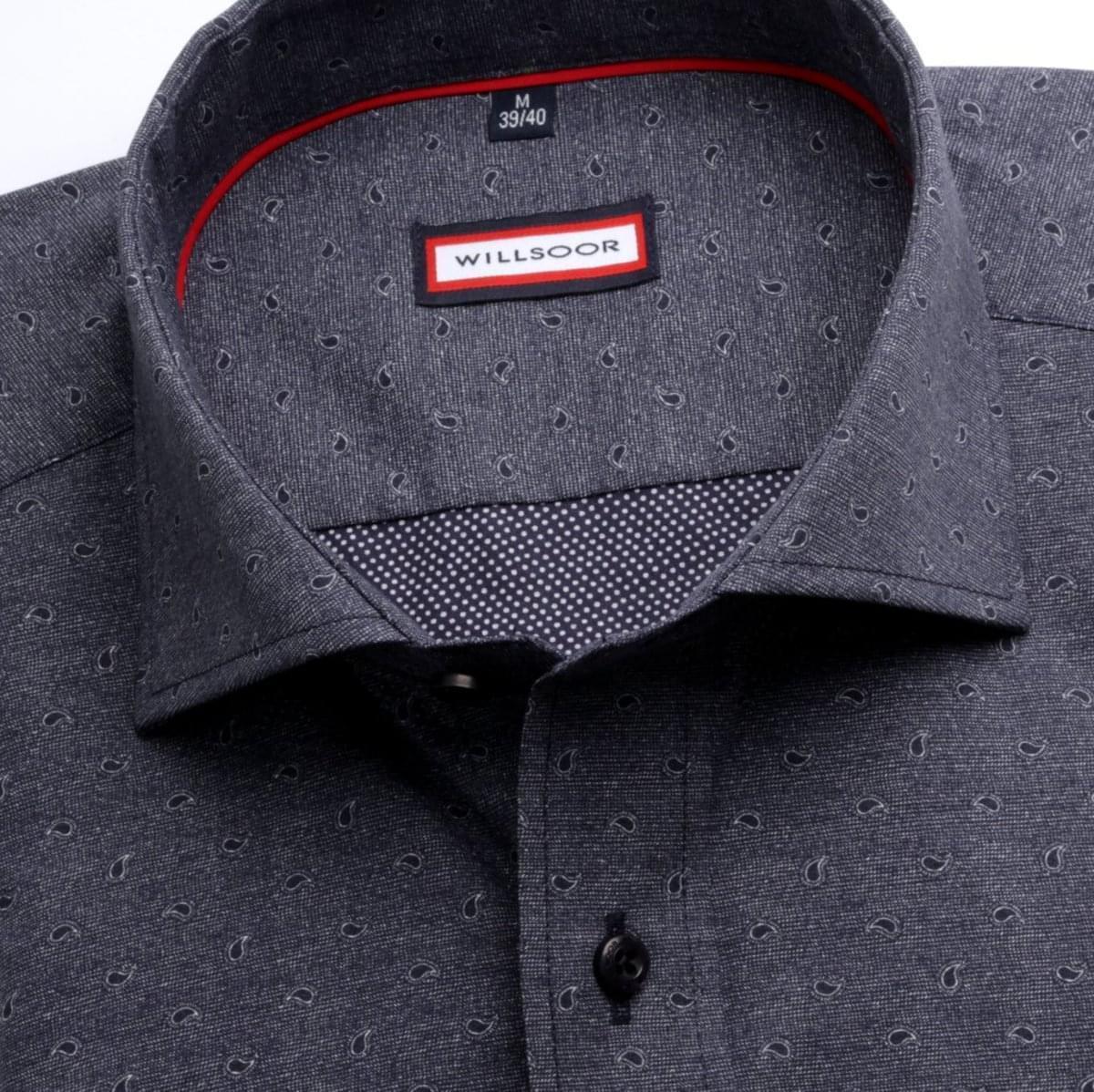 Pánská slim fit košile (výška 176-182) 6981 v grafitové barvě s formulí Easy Care 176-182 / L (41/42)
