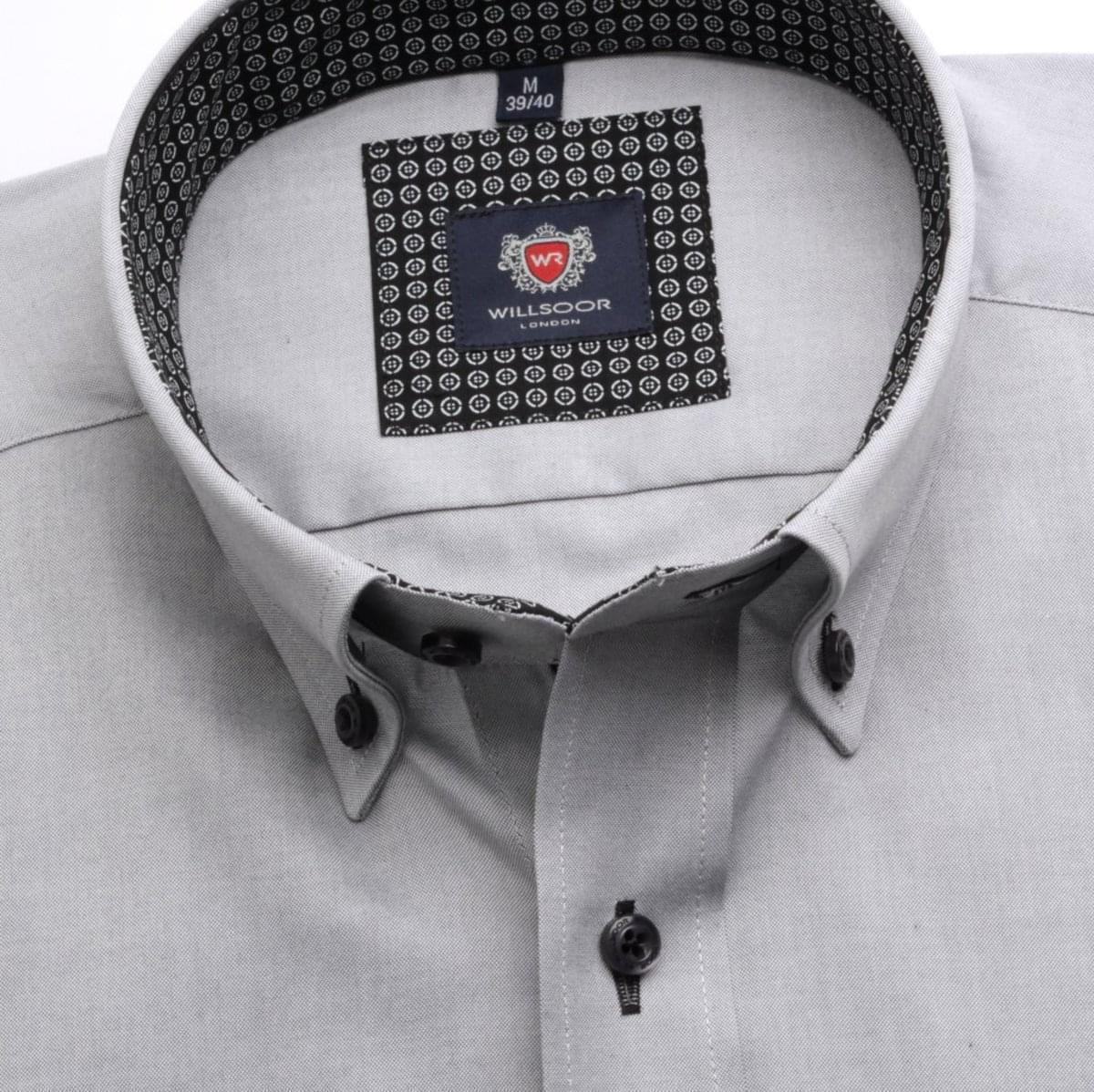 Pánská klasická košile London (výška 176-182) 6996 v šedé barvě s formulí Easy Care 176-182 / L (41/42)
