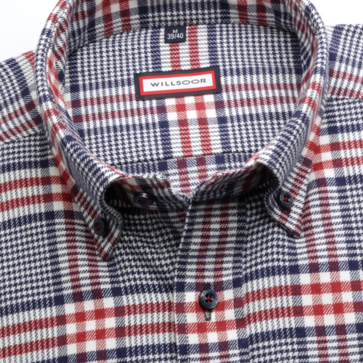 Pánská klasická košile (výška 176-182) 7066 v bílé barvě s kostkou a formulí Easy Care 176-182 / L (41/42)