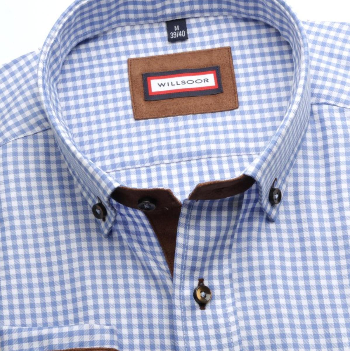 Pánská klasická košile (výška 176-182) 7125 s modrou kostkou a formulí Easy Care 176-182 / XXL (45/46)