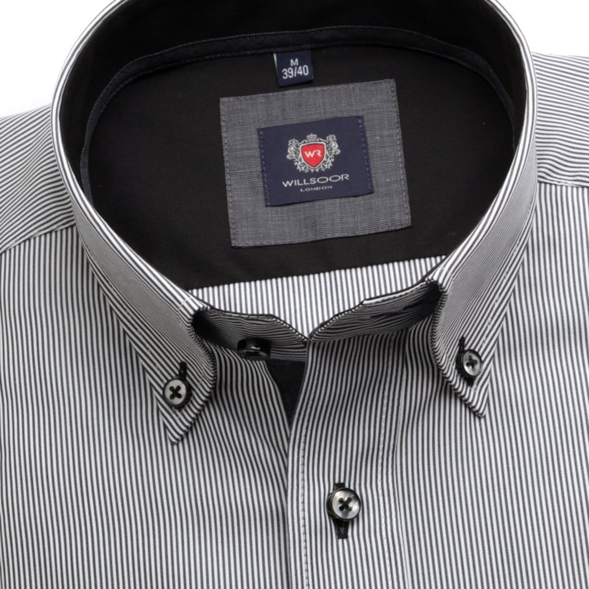 Pánská klasická košile London (výška 176-182) 7129 v grafitové barvě s formulí Easy Care 176-182 / XXL (45/46)