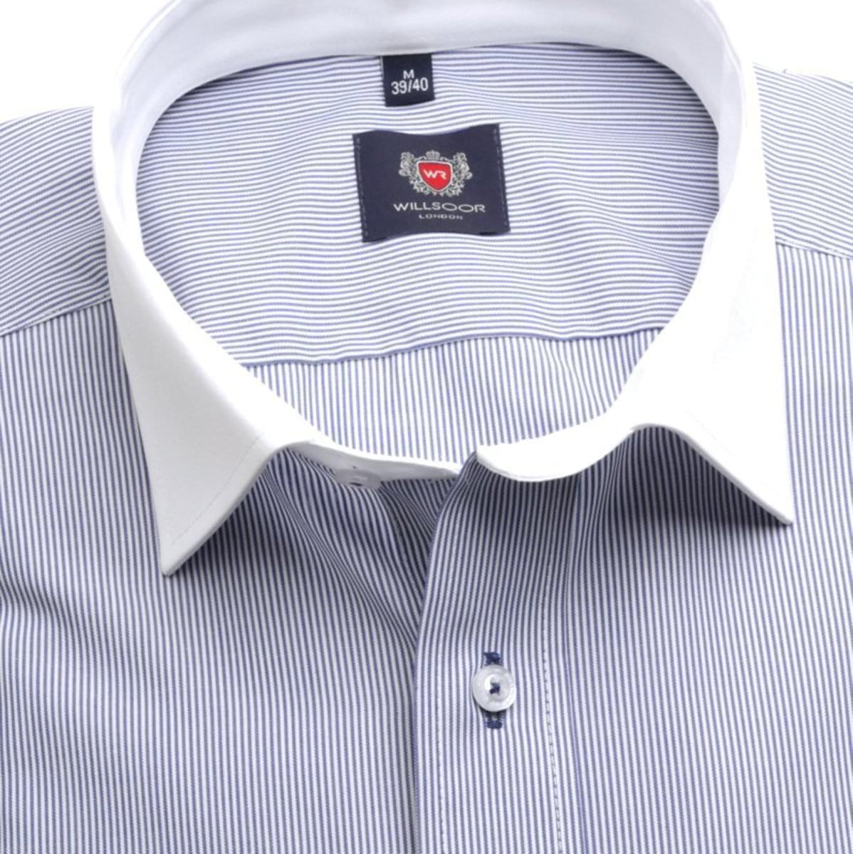 Pánská slim fit košile London (výška 176-182) 7140 s proužkem a formulí Easy Care 176-182 / L (41/42)
