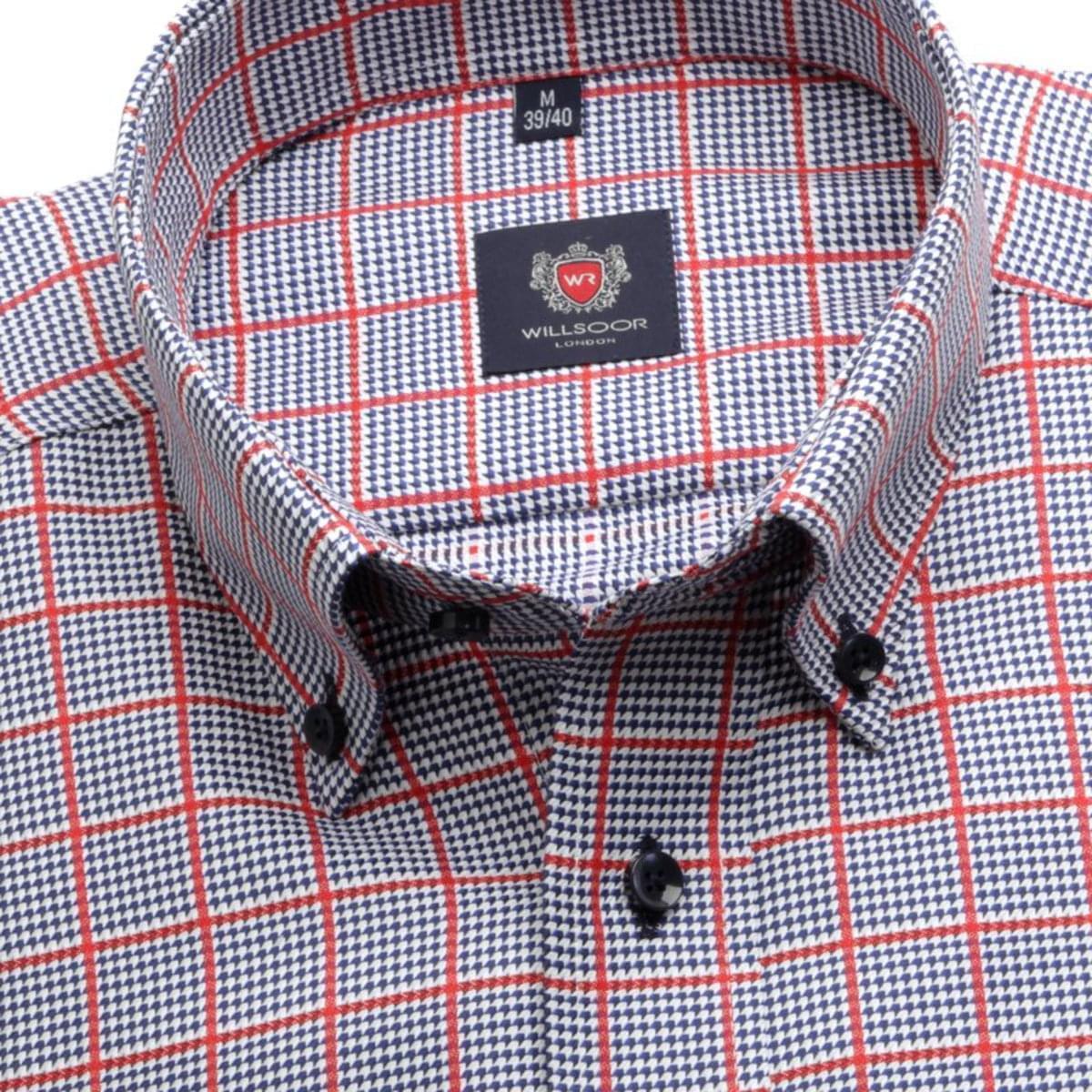 Pánská klasická košile London (wzrost 176-182) 7260 s kostkou a formulí Easy Care 176-182 / XL (43/44)