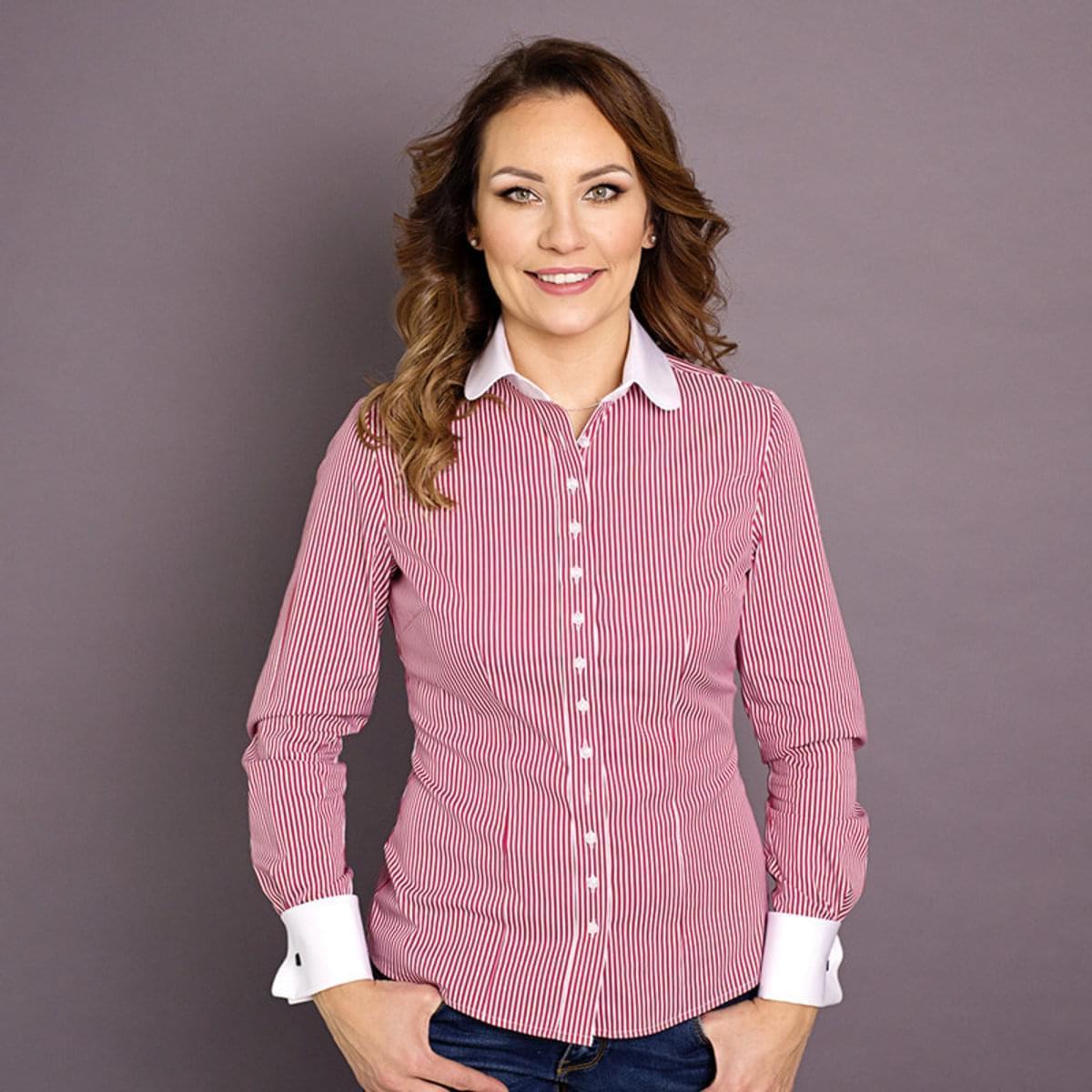 Dámská košile Willsoor 7341 s proužky a kulatým límečkem 34