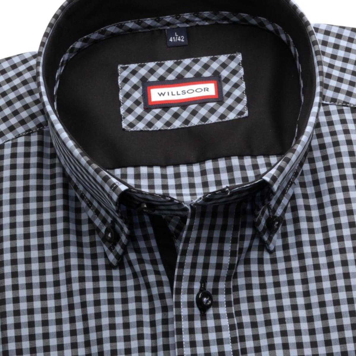 "Pánská slim fit košile (výška 176-182) 7360 s kostkou ""gingham"" 176-182 / XL (43/44)"