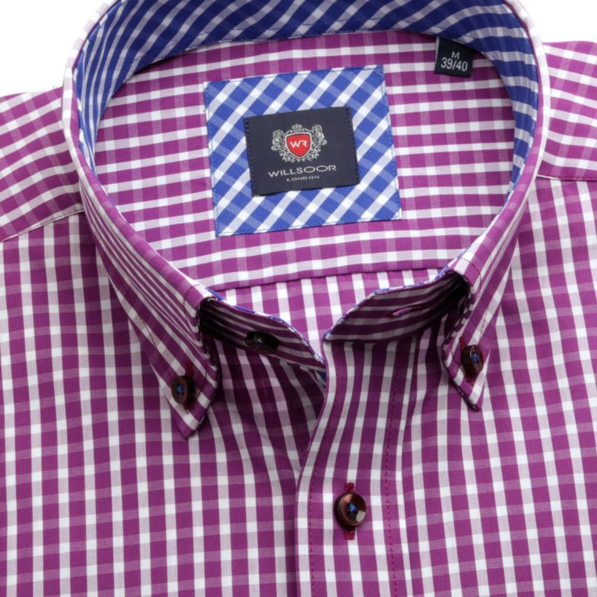 Pánská slim fit košile London (výška 188-194) 7547 s kostkou a úpravou easy care 188-194 / L (41/42)