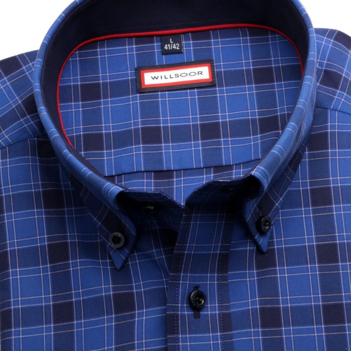 Pánská slim fit košile (výška 176-182) 7599 v modré barvě s úpravou easy care 176-182 / XL (43/44)