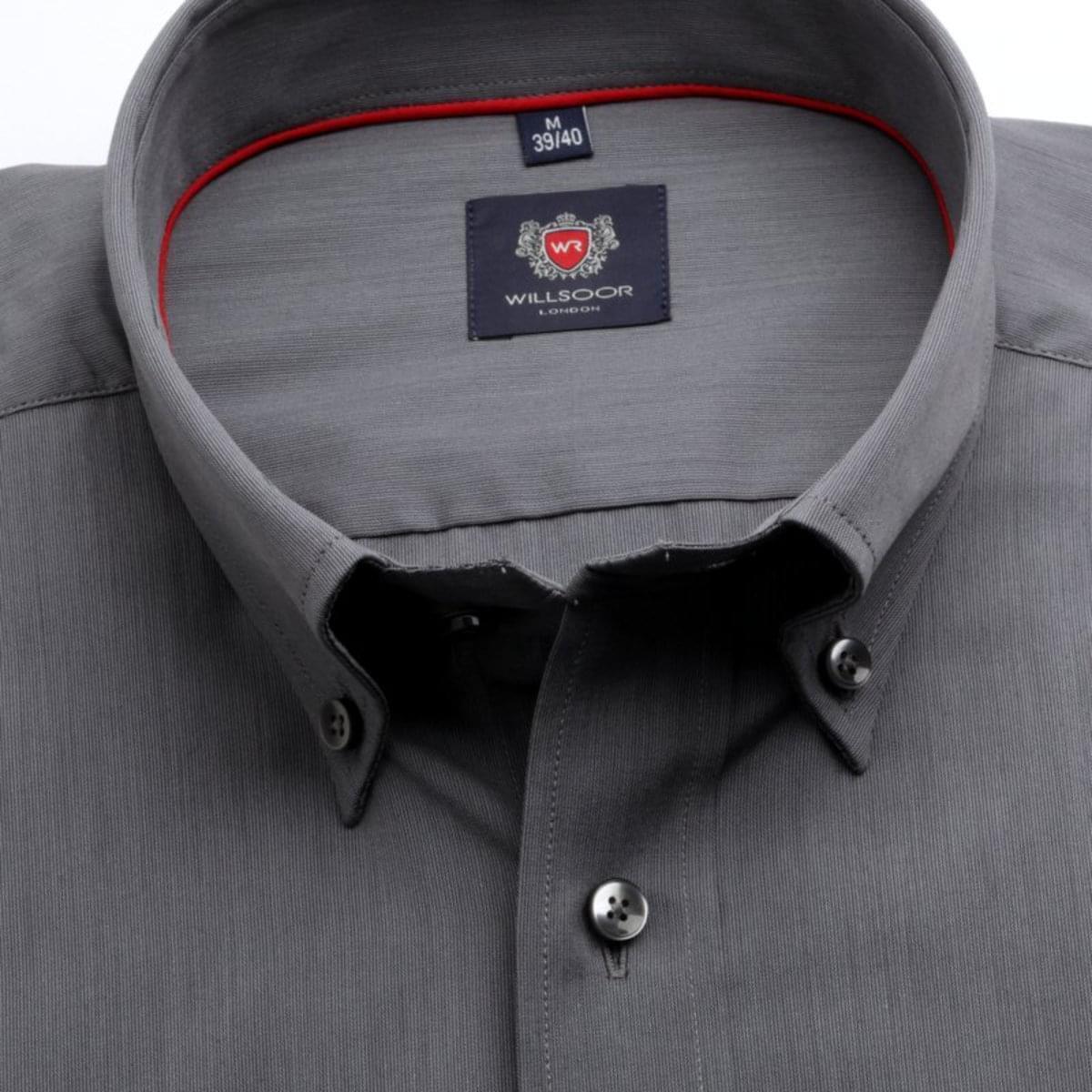 Pánská klasická košile London (výška 176-182) 7638 v grafitové barvě s úpravou Easy Care 176-182 / L (41/42)
