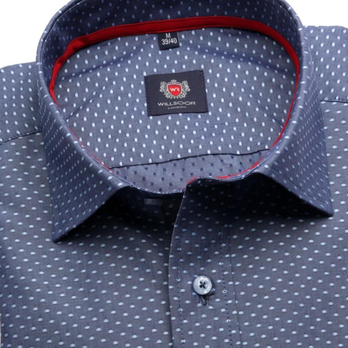 Pánská klasická košile London (výška 176-182) 7648 v modré barvě s úpravou easy care 176-182 / XL (43/44)