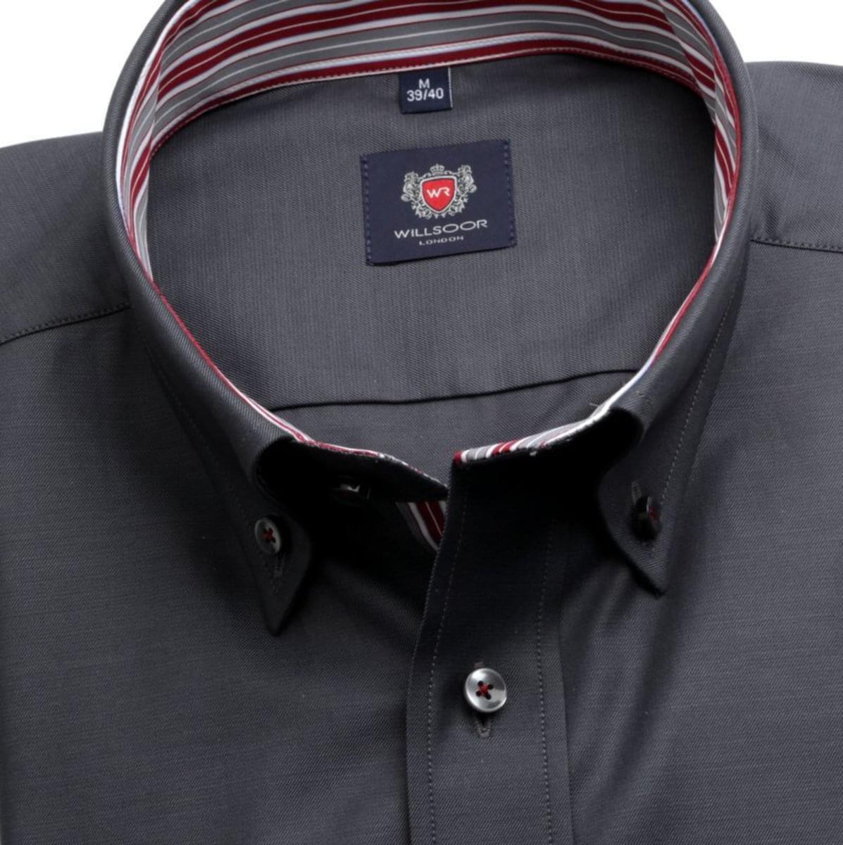 Pánská klasická košile London (výška 176-182) 7654 v grafitové barvě s úpravou easy care 176-182 / XL (43/44) 188-194 / XL (43/44)