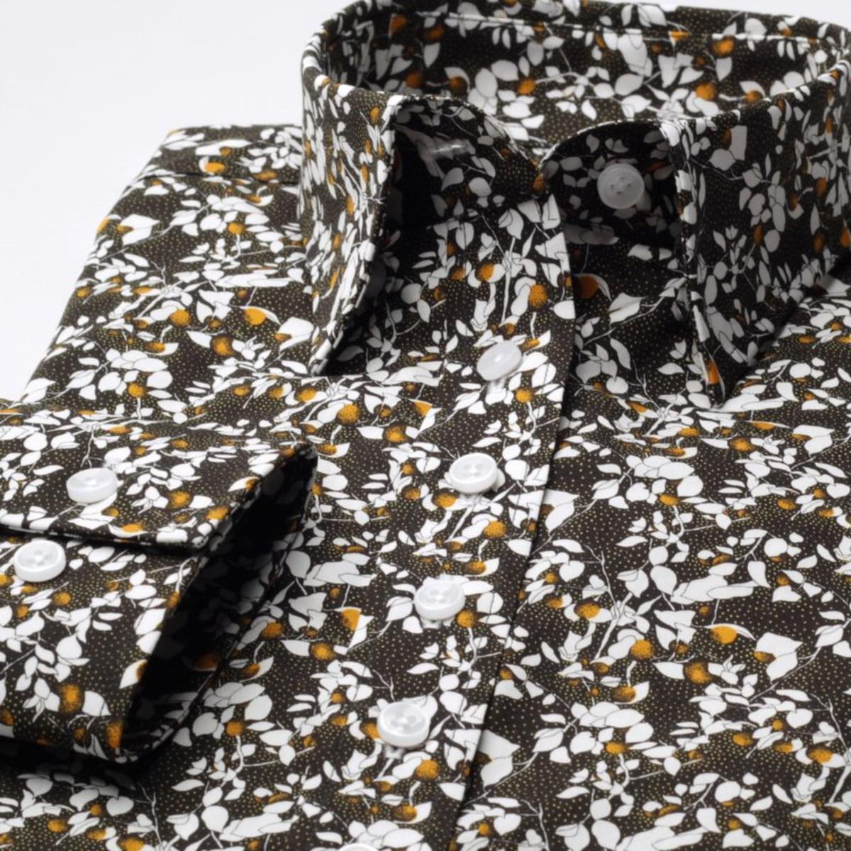 Dámská košile Willsoor 7704 v černé barvě s květy 38