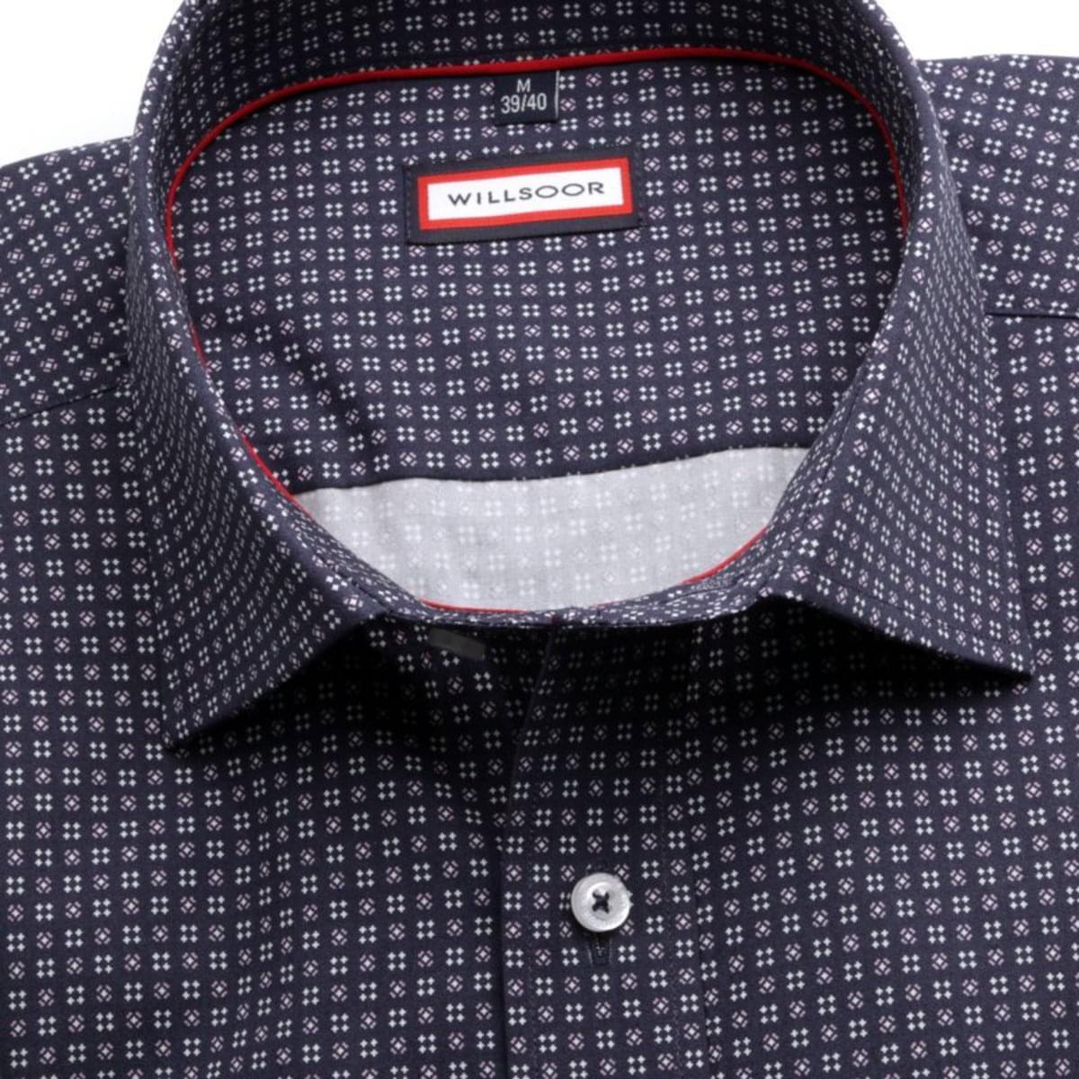 Pánská klasická košile (výška 176-182) 7758 v modré barvě s úpravou easy care 176-182 / L (41/42)