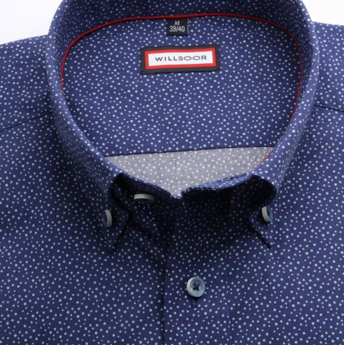 Pánská slim fit košile (výška 176-182) 7759 v modré barvě s úpravou easy care 176-182 / M (39/40)