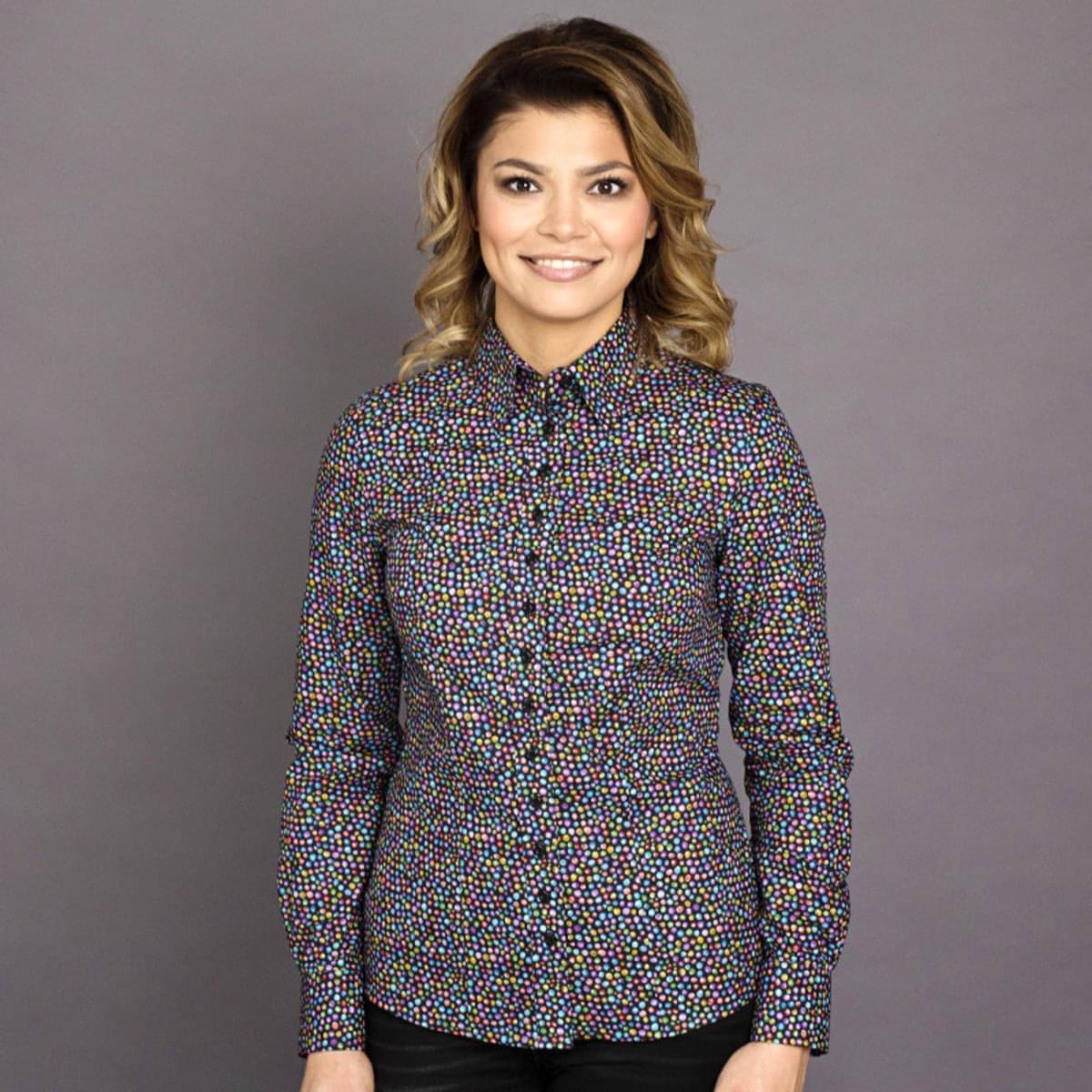 Dámská košile Willsoor 7765 v černé barvě s barevnými puntíčky 34