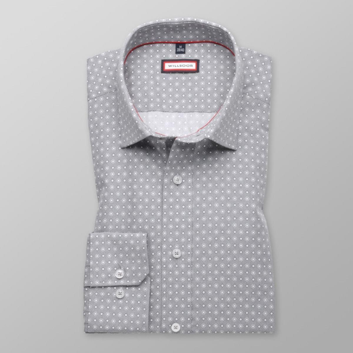 Pánská slim fit košile (výška 176-182) 7782 v šedé barvě s úpravou easy care 176-182 / M (39/40)