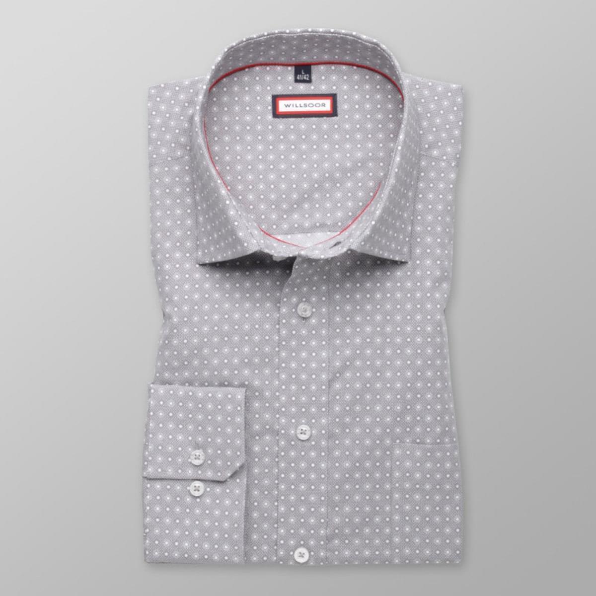 Pánská klasická košile (výška 176-182) 7783 v šedé barvě s úpravou easy care 176-182 / L (41/42)
