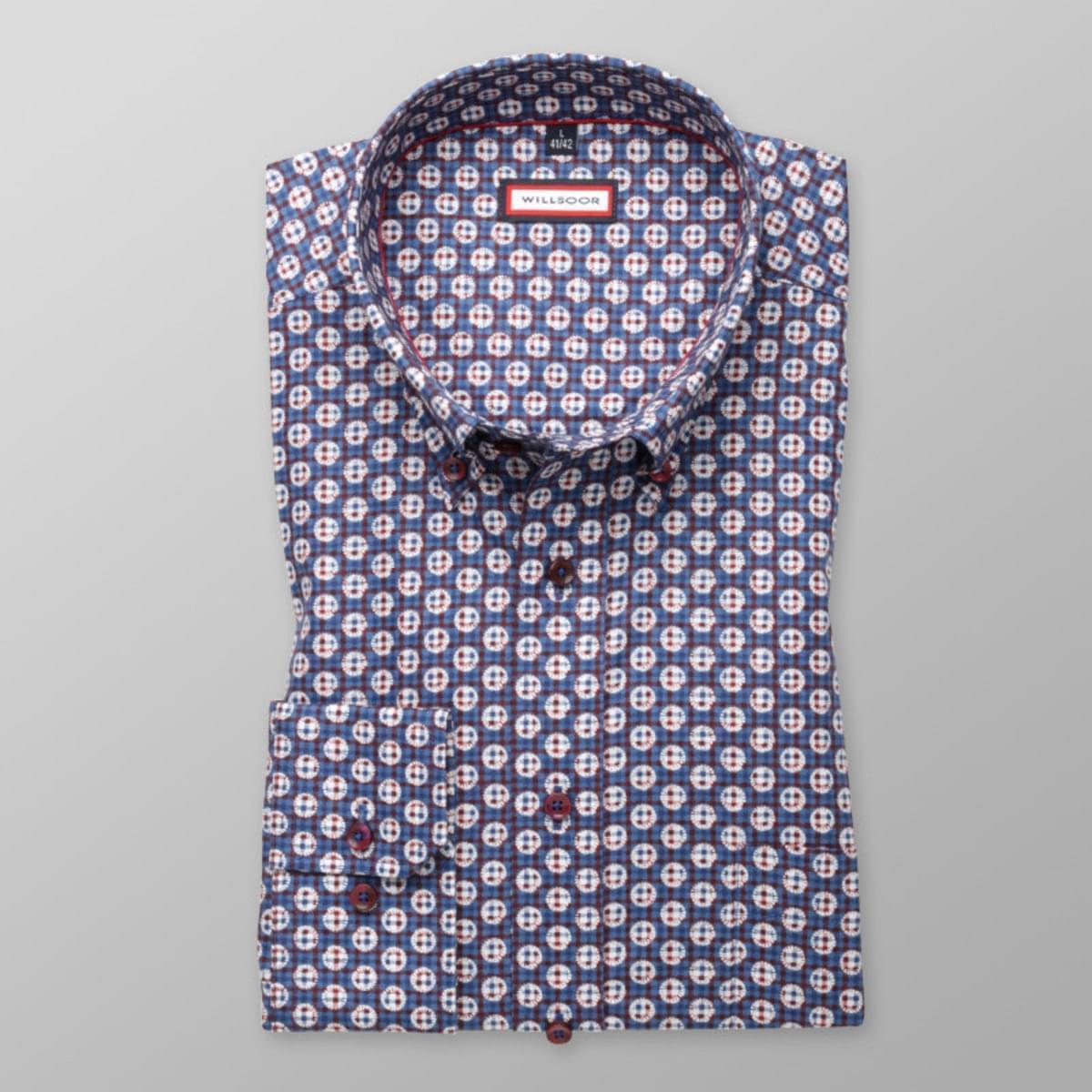 Pánská klasická košile (výška 176-182) 7787 ve tmavě modré barvě s úpravou easy care 176-182 / L (41/42)