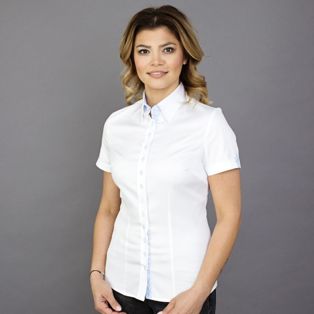 Dámská košile s krátkým rukávem Willsoor 7807 v bílé barvě 34