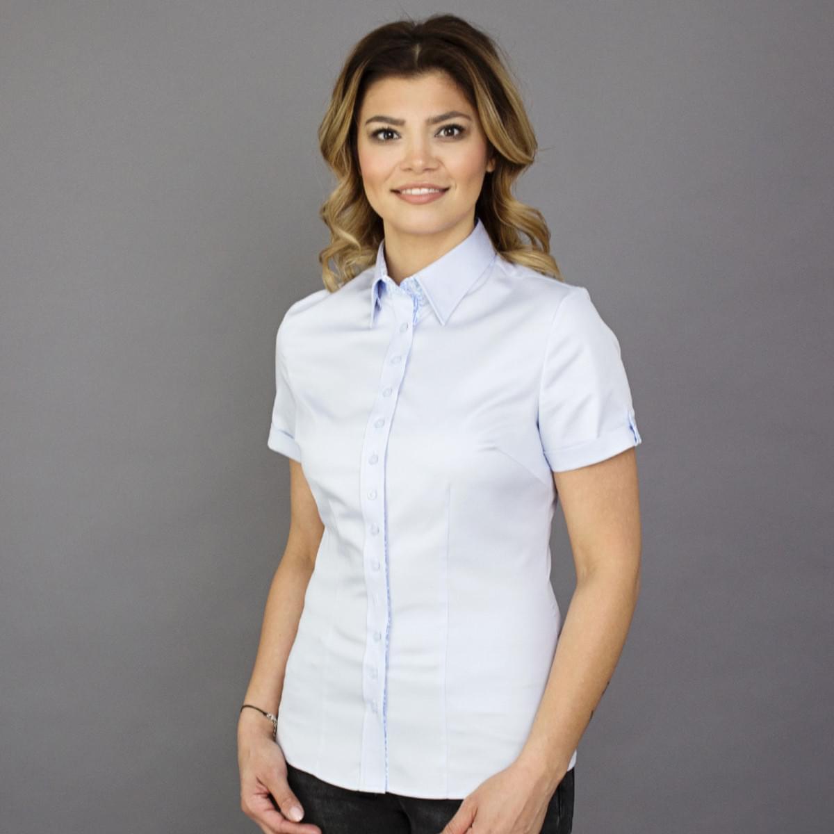 Dámská košile s krátkým rukávem Willsoor 7808 ve světle modré barvě 36