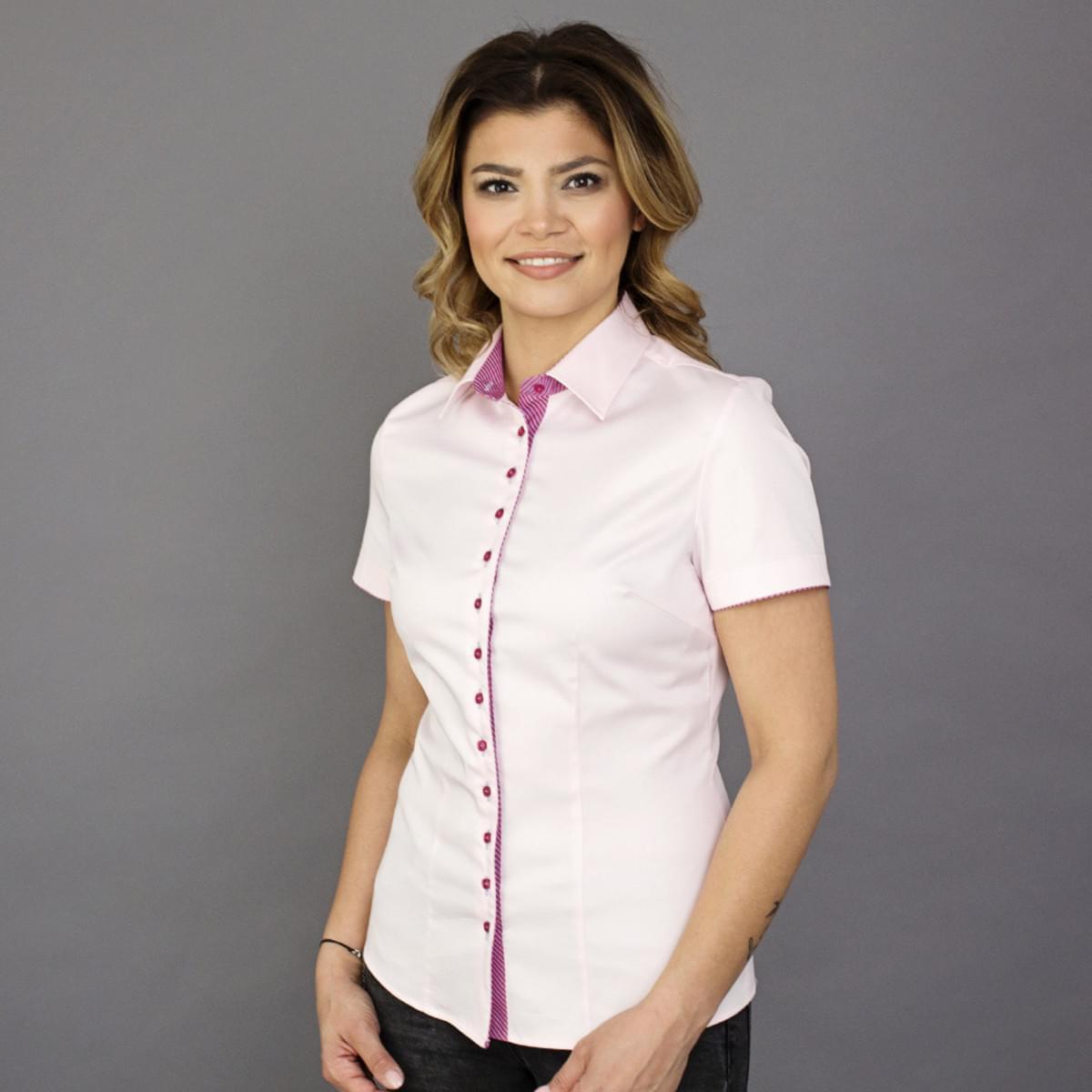Dámská košile s krátkým rukávem Willsoor 7809 v růžové barvě 34
