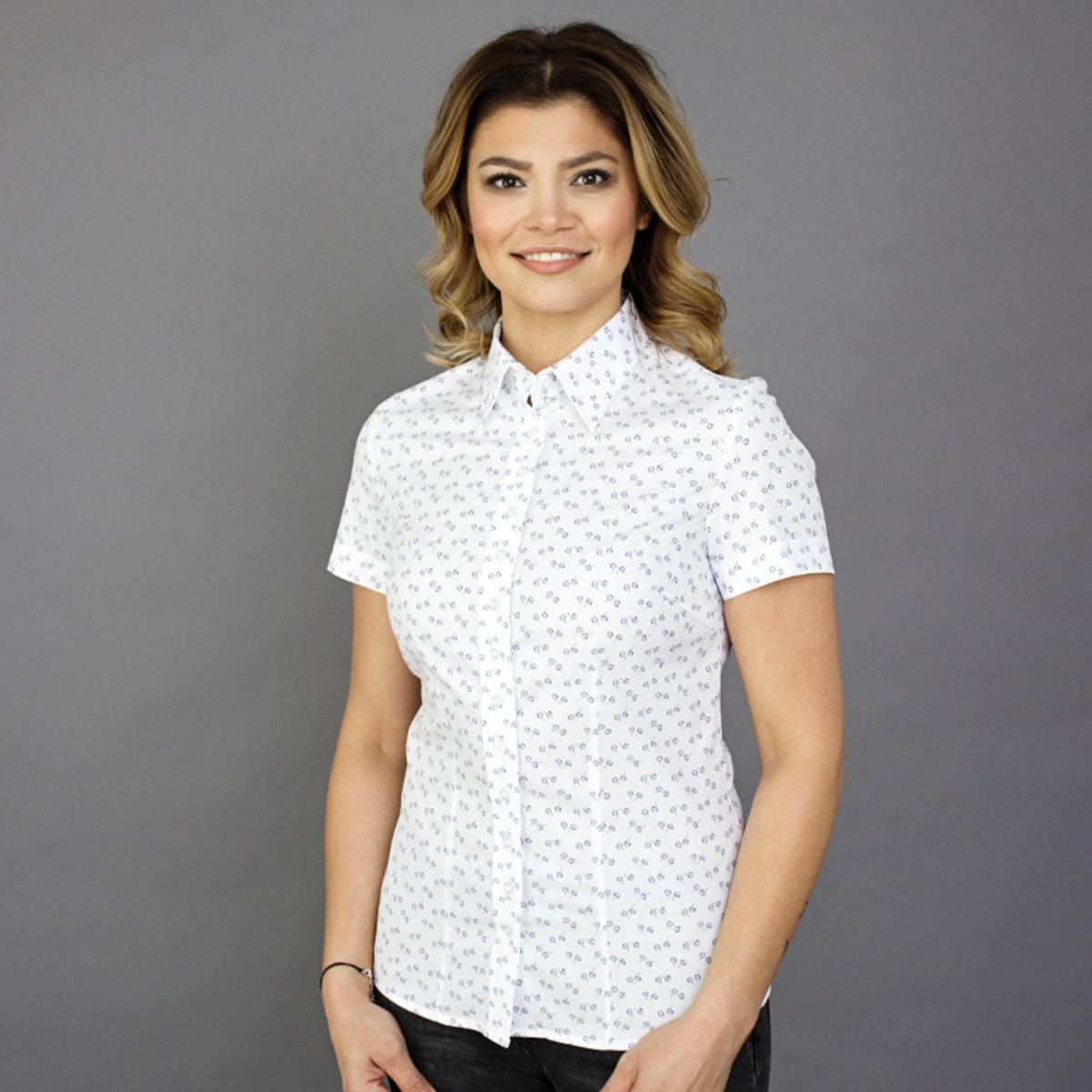 Dámská košile s krátkým rukávem Willsoor 7810 v bílé barvě 40