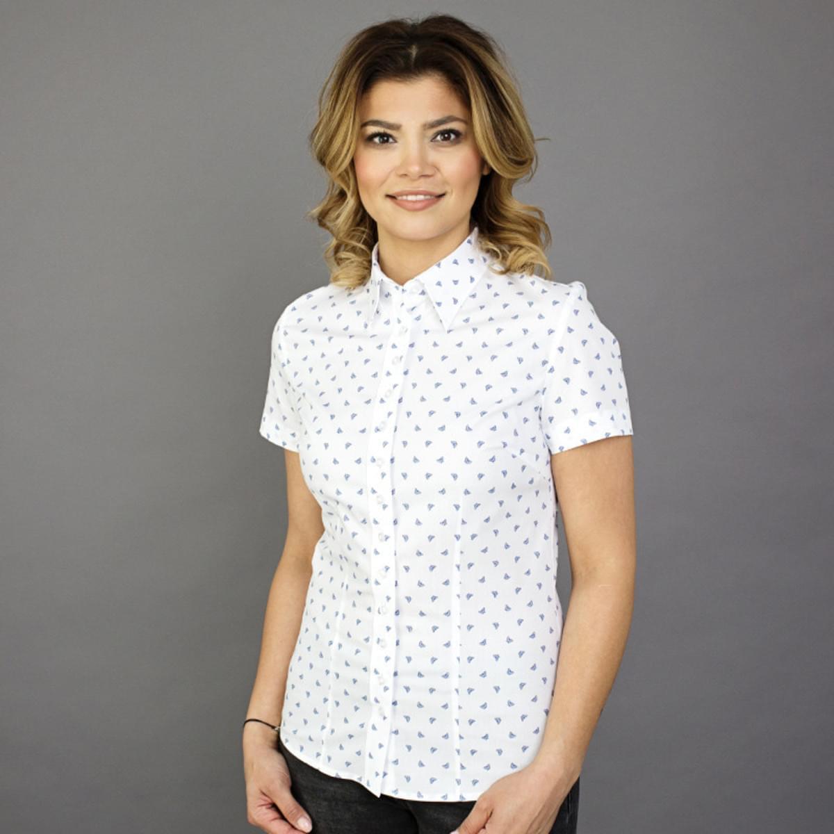 Dámská košile s krátkým rukávem Willsoor 7811 v bílé barvě 34