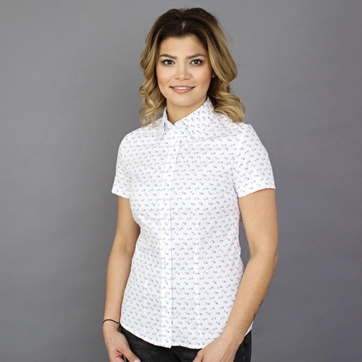 Dámská košile s krátkým rukávem Willsoor 7812 v bílé barvě 34