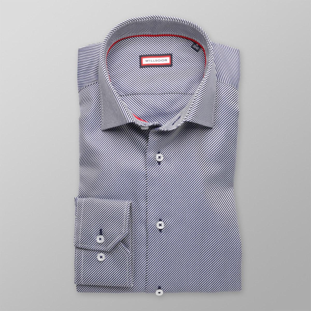 Pánská slim fit košile (výška 176-182) 8282 s jemnými proužky 176-182 / L (41/42)
