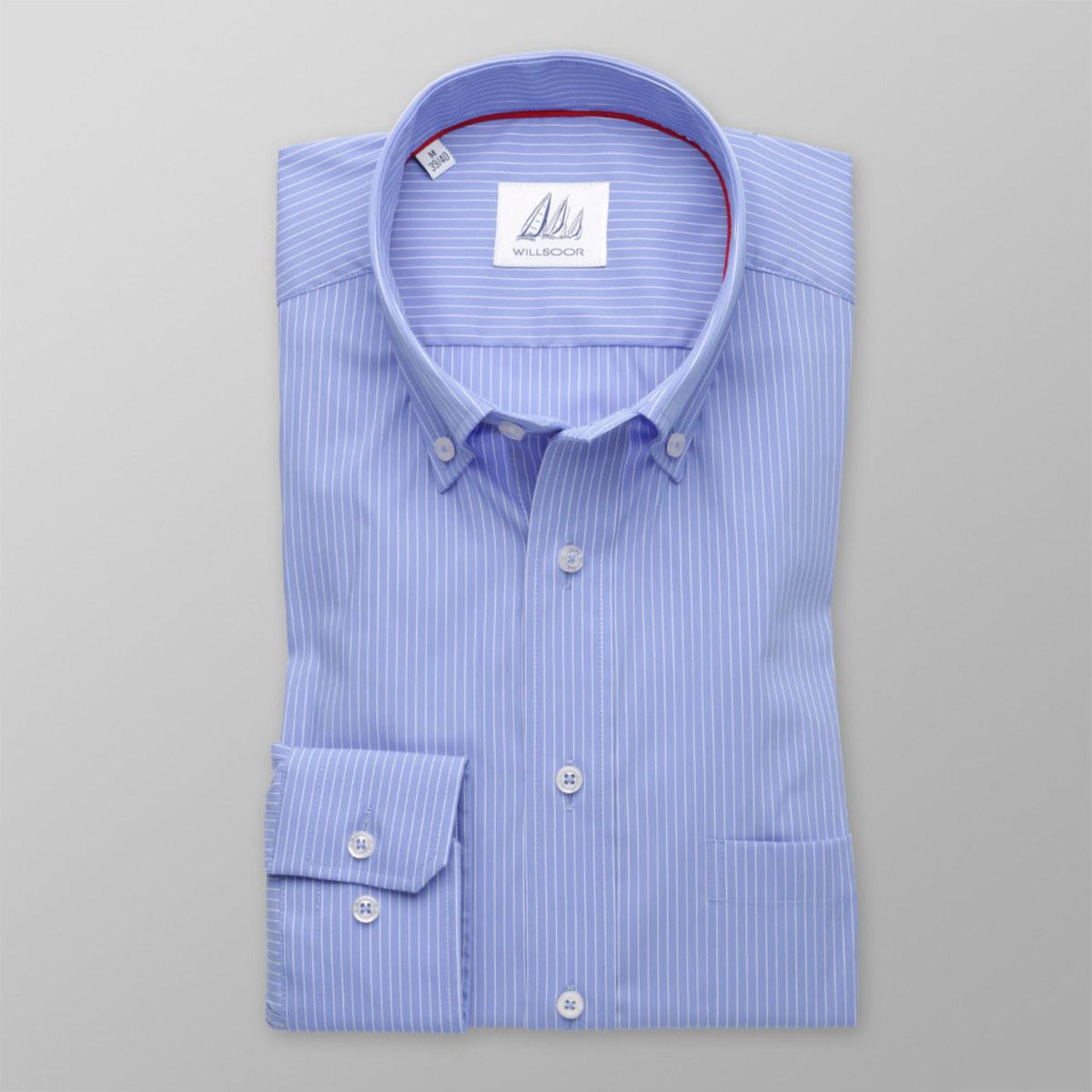 Pánská klasická košile (výška 176-182) 8295 v modré barvě s proužky 176-182 / XL (43/44)