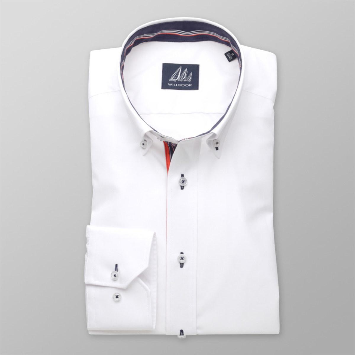 Pánská slim fit košile (výška 176-182 i 188-194) 8302 v bílé barvě 176-182 / XL (43/44)