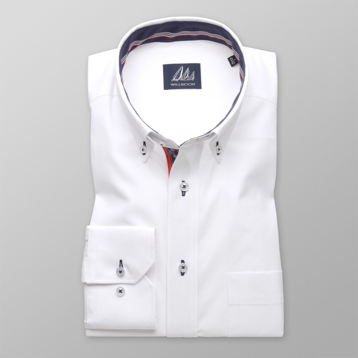 Pánská klasická košile (výška 176-182 i 188-194) 8303 v bílé barvě 188-194 / XL (43/44)