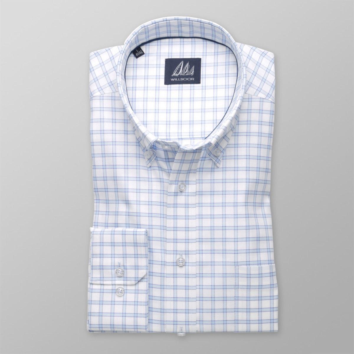 Pánská klasická košile (výška 176-182) 8305 v bílé barvě s kostkou 176-182 / XXL (45/46)