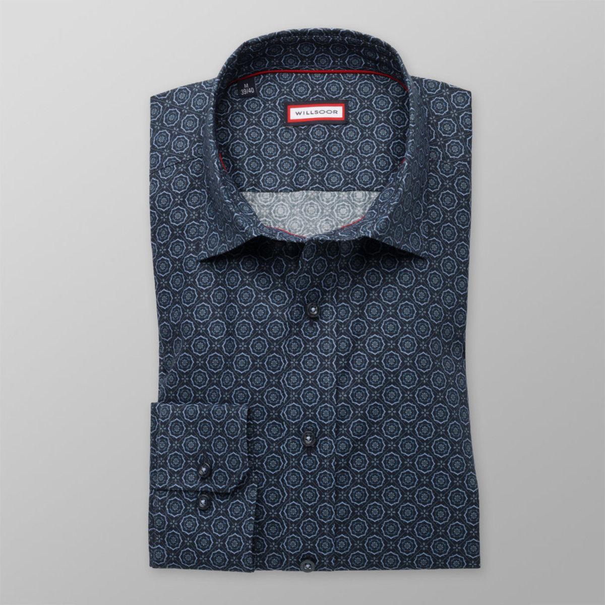 Pánská slim fit košile (výška 176-182) 8342 v modré barvě se vzorem 176-182 / XL (43/44)