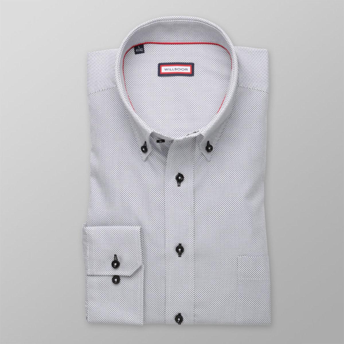 Pánská klasická košile (výška 176-182) 8345 v bílé barvě s puntíčky 176-182 / L (41/42)