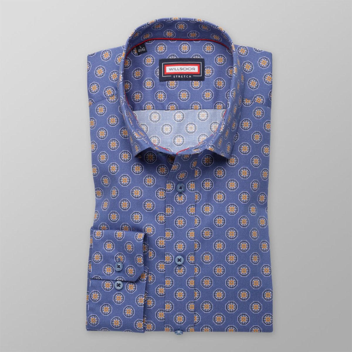 Pánská slim fit košile (výška 176-182) 8352 v modré barvě 176-182 / XL (43/44)