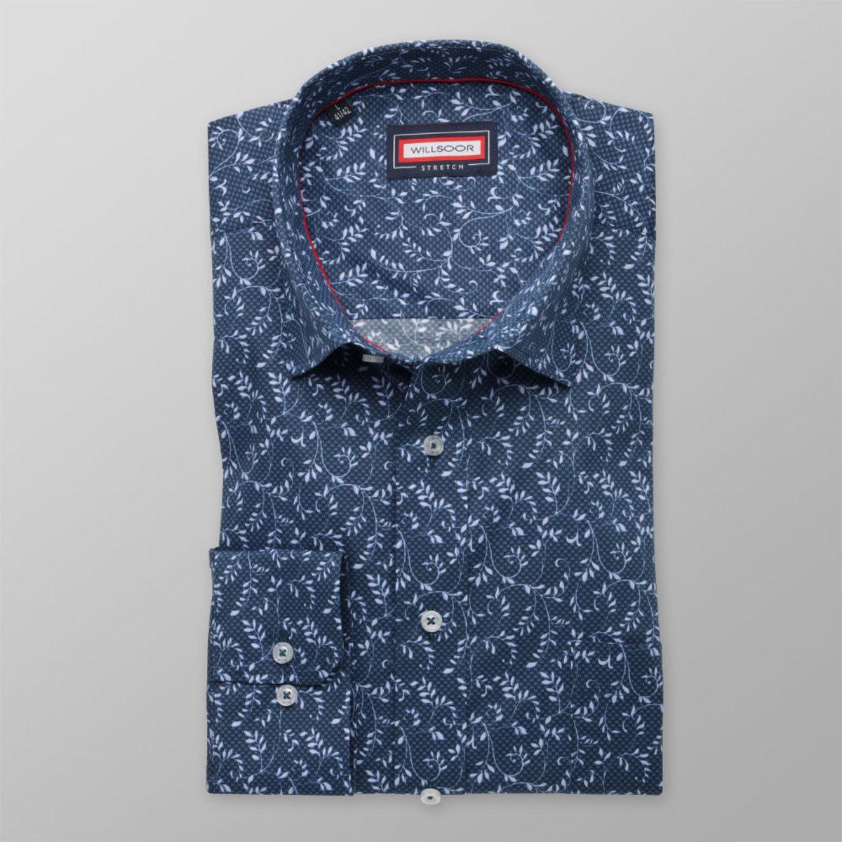 Pánská klasická košile (výška 176-182) 8355 ve tmavě modré barvě 176-182 / XL (43/44)