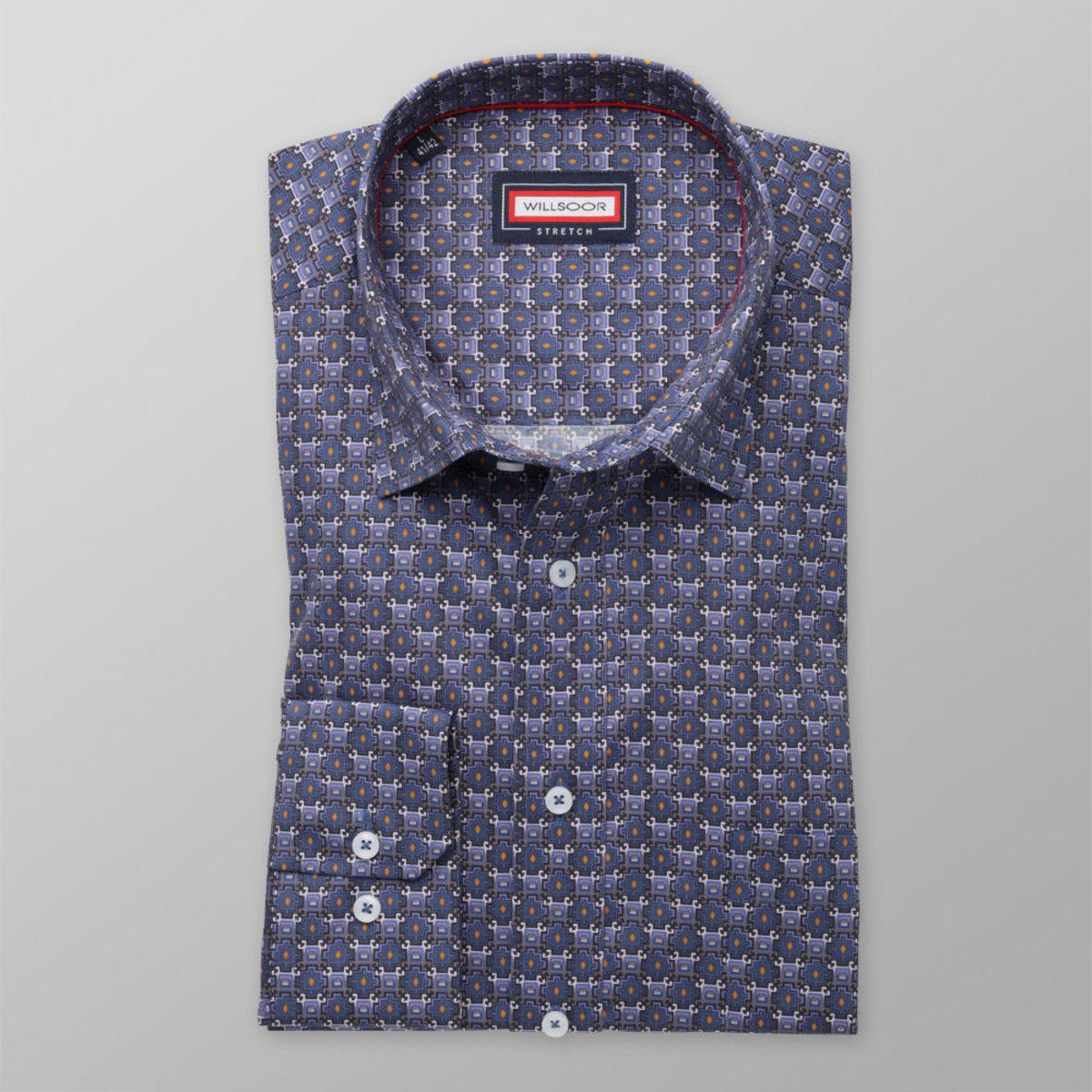 Pánská klasická košile (výška 176-182) 8357 v modré barvě s příměsí elastanu 176-182 / XL (43/44)