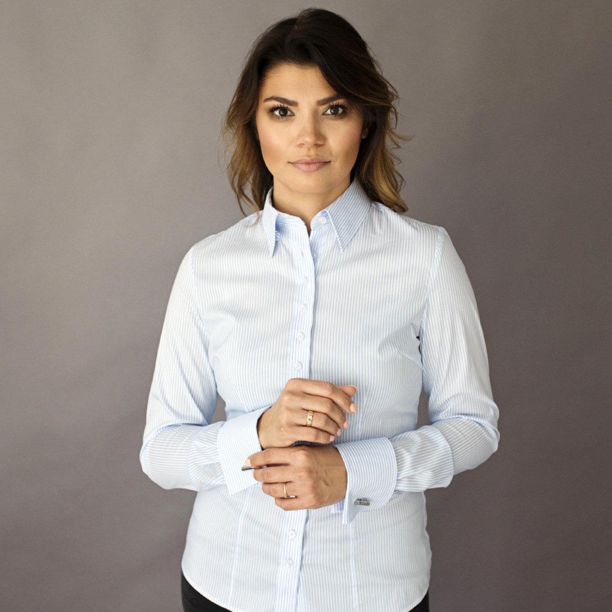 Dámská košile Willsoor 8409 v bílé barvě s proužky 34