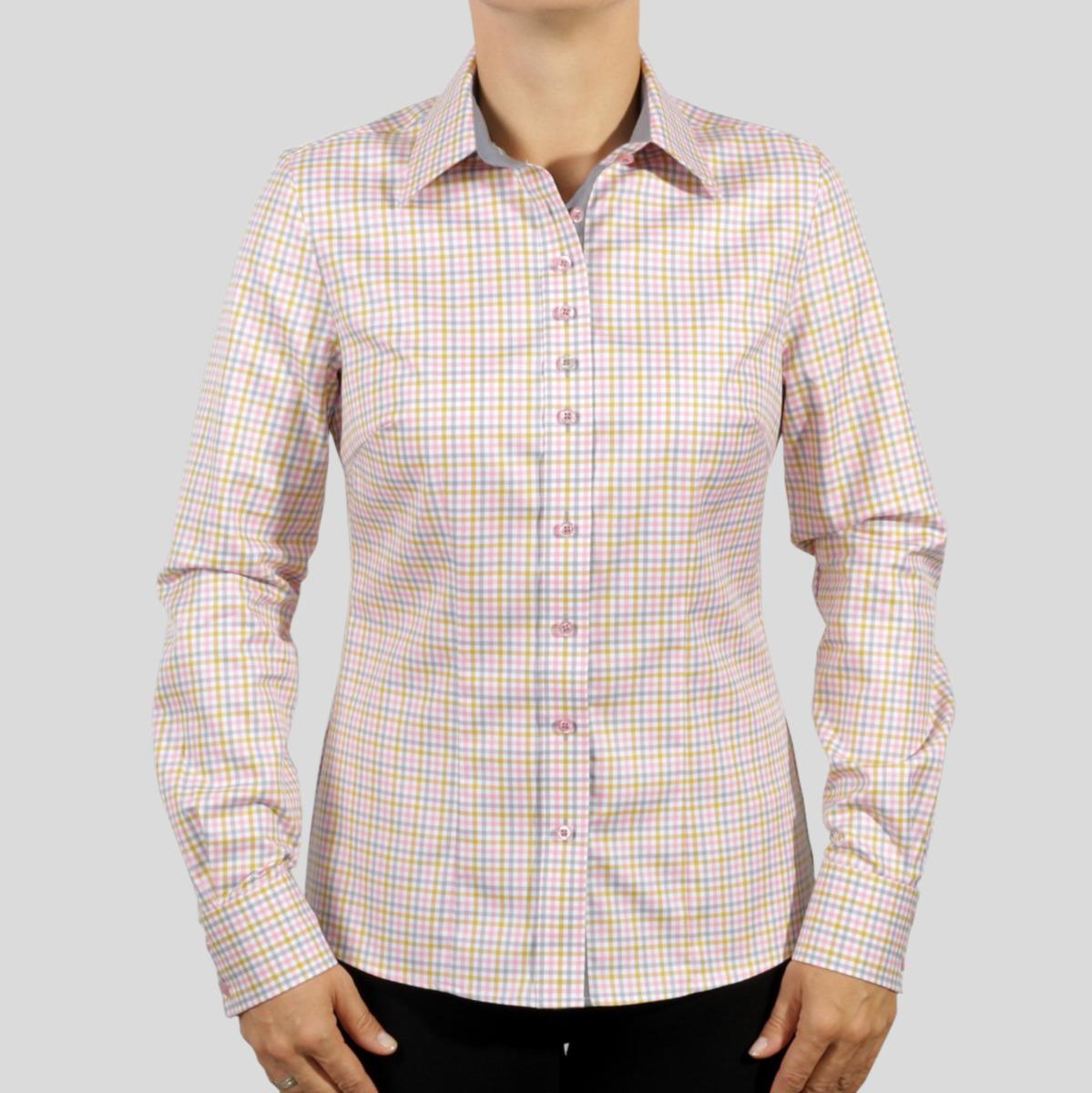 Dámská košile Willsoor 8488 v bílé barvě s barevnou kostkou 34