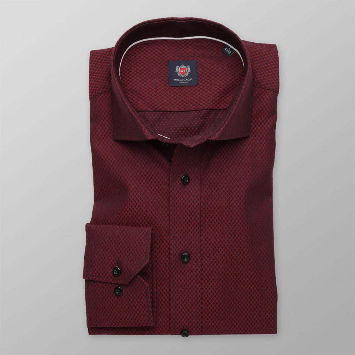 Pánská slim fit košile London (výška 176-182) 8501 v bordó barvě s úpravou easy care 176-182 / L (41/42)