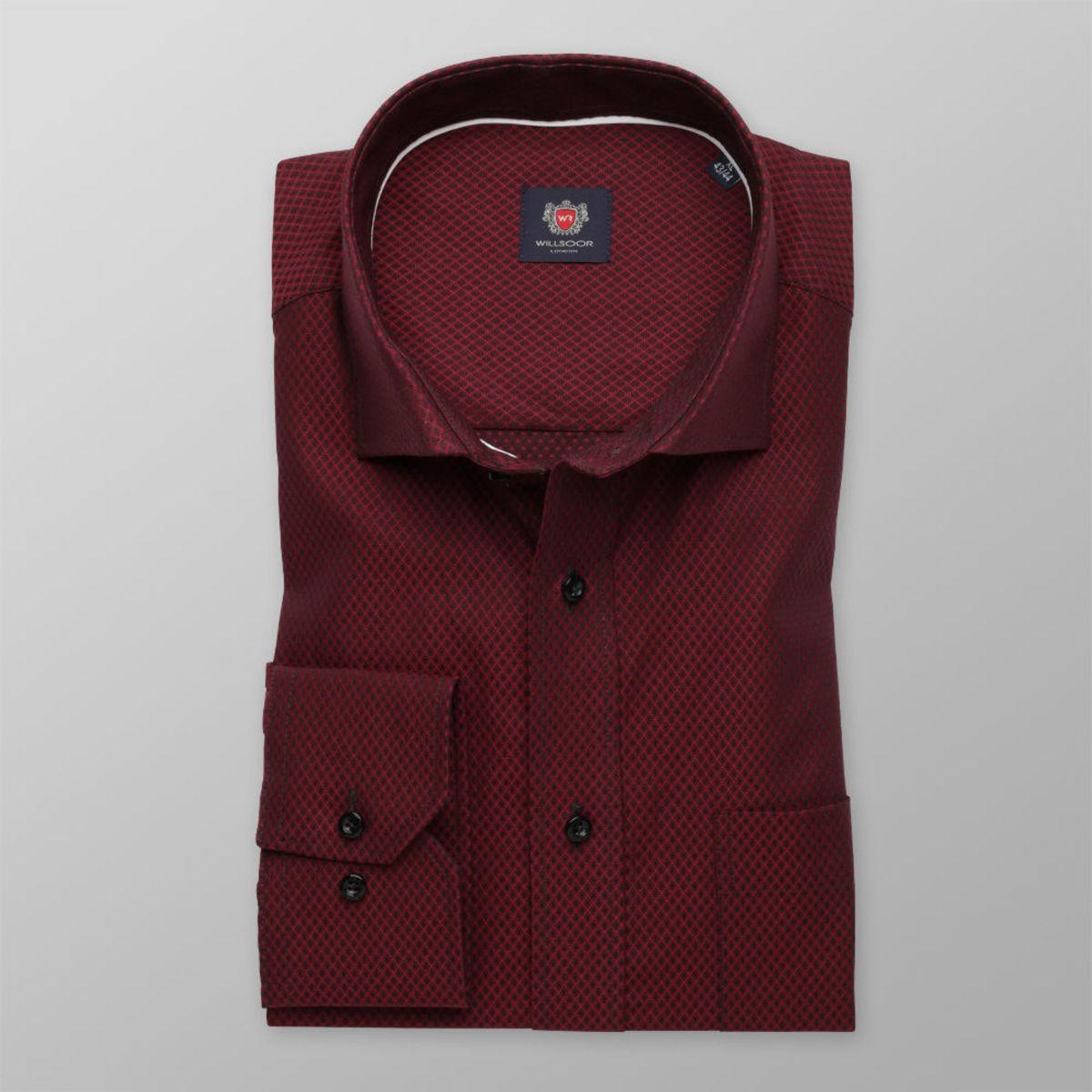 Pánská klasická košile London (výška 176-182) 8502 v bordó barvě a úpravou easy care 176-182 / L (41/42)