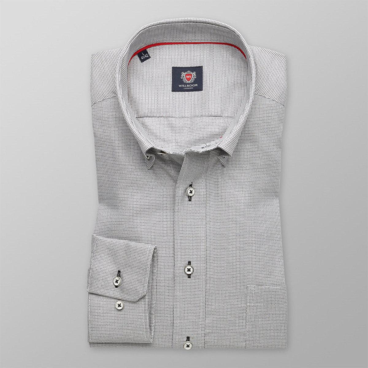 Pánská klasická košile London (výška 176-182) 8591 v šedé barvě s úpravou easy care 176-182 / L (41/42)