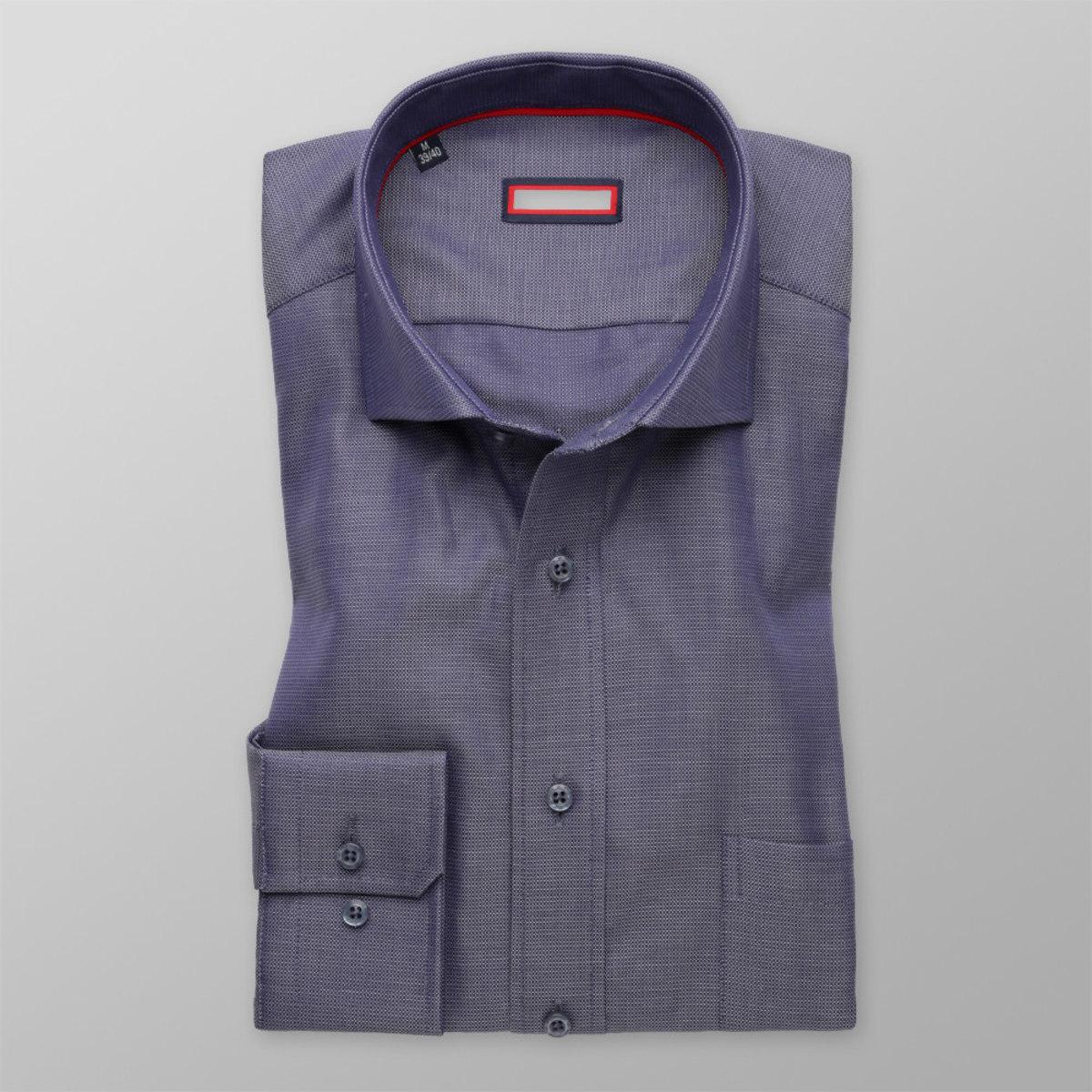 Pánská slim fit košile (výška 176-182) 8628 v šedomodré barvě 176-182 / M (39/40)